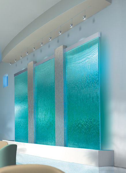Glass wall waterfall design