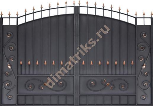 Ворота купеческие прямые плечи черные